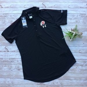 *New Under Armour Utah Utes Heat Gear Black Polo